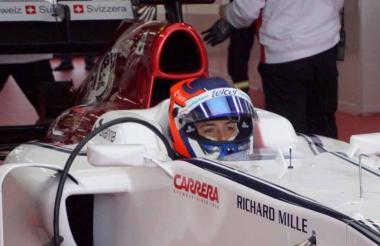 La piloto colombiana Tatiana Calderón en el monoplaza.