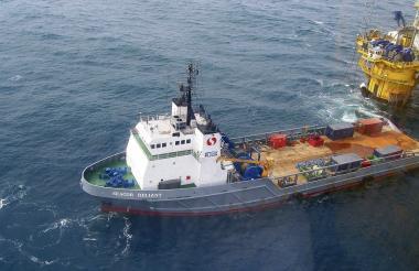 Aspecto general de las exploraciones de petróleo costa afuera realizadas en el mar Caribe colombiano.