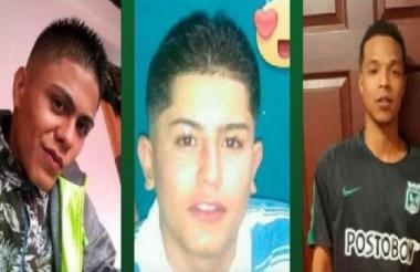 Los tres jóvenes hallados muertos este viernes en la comuna 13 de Medellín.