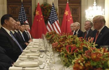 Donald Trump, presidente de EEUU, y Xi Jinping, mandatario de China, durante una cena al final del G20.