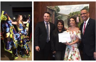 La reina Carolina Segebre posa con el alcalde de Paterson, André Sayegh, la presidenta de Colombian American Goodwill, Nayi Guardiola y el concejal Luis Vélez. Por último, la bella barranquillera hizo su entrada a la fiesta de coronación de las soberanas de New Jersey.