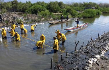 Trabajos de recuperación del canal La Isla.