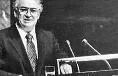 Belisario Betancur, en un momento de su discurso en las Naciones Unidas.