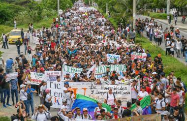 Estudiantes durante la primera manifestación del pasado 10 de octubre.