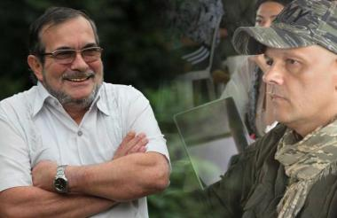 Rodrigo Londoño, alias Timochenko y  Hernán Darío Velásquez, alias 'El Paisa'.