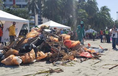 Vista de los desechos tras la limpieza en la playa.