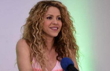 La cantante barranquillera Shakira durante una rueda de prensa.