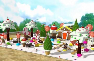 Render de la 'Casa de dulces' en la Plaza de la Paz.