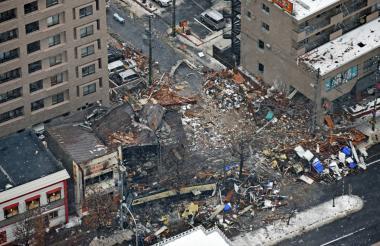 Vista aérea de la zona de la explosión.