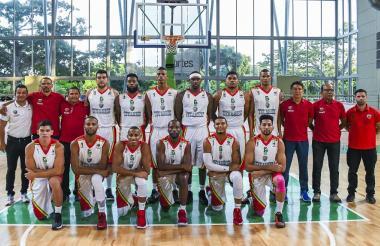 El quinteto de los Titanes de Barranquilla, campeón de la Liga de Baloncesto Profesional.