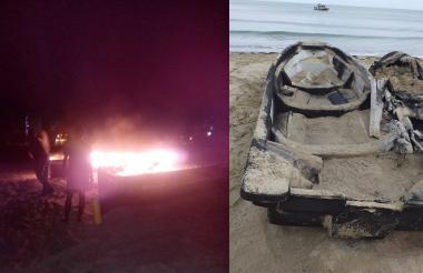 Der. Lanchas en el momento de la conflagración; Izq. Lanchas incineradas.