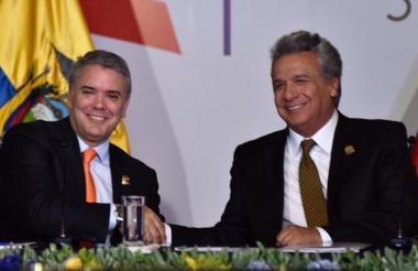 El presidente Iván Duque y su colega ecuatoriano Lenín Moreno.