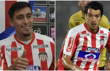 Fabián Sambueza cuando fue presentado como jugador de Junior hace 6 meses y Sebastián Hernández.