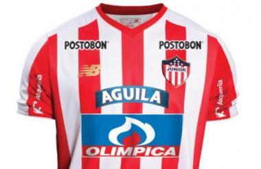 La camiseta actual de Junior. Con esta se cerró la temporada de 2018 y con la misma se jugará en el primer semestre de 2019.