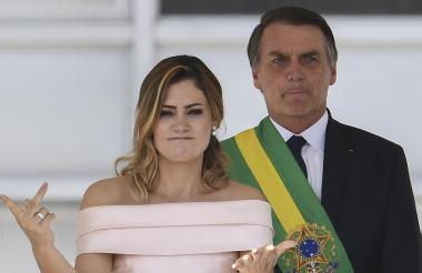 La primera dama de Brasil, Michelle Bolsonare, durante su intervención.