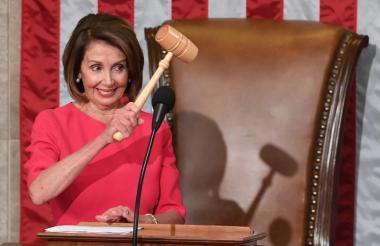 Nancy Pelosi minutos después de su elección.