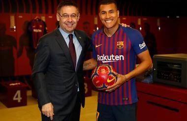 El central colombiano Jeison Murillo en su presentación como nuevo jugador del Barcelona de España.