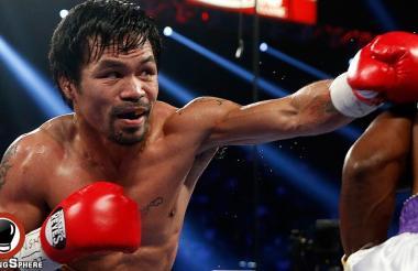 El filipino Manny Pacquiao conectando un golpe durante uno de sus combates.