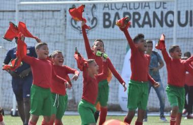 Jugadores del Barranquilla FC celebrando el título.