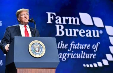 Trump en su intervención de este lunes en Nueva Orleans.