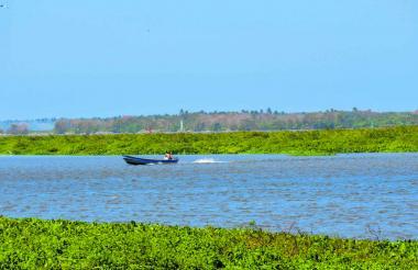 Vista del río Magdalena a la altura de la avenida del Río, donde se aprecia parte del islote.