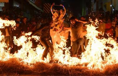 Hombres indios llevan a una vaca sobre heno en llamas como parte de un ritual.