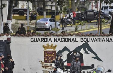 Vista parcial de la sede de la Guardia Nacional Bolivariana de Cotiza en Caracas.