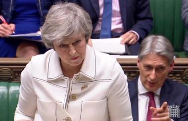 May, primera ministra británica, habla en la Cámara de los Comunes en Londres.