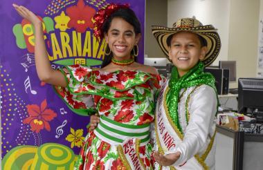 Isabella Chacón Ruiz y César De la Hoz Padilla, reyes del Carnaval de los Niños 2019.