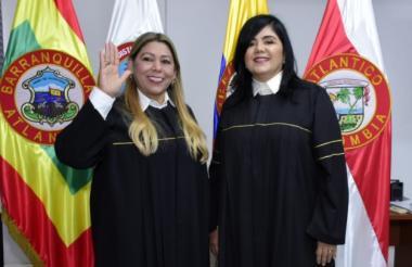 La magistrada de la Sala Civil de Familia, Vivian Saltarín Jiménez, nueva presidenta del Tribunal, durante su posesión.