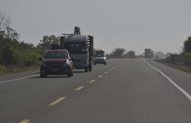 Aspecto de la carretera que conecta  a Barranquilla con Ciénaga, en el departamento de Magdalena, a la altura del kilómetro 32.