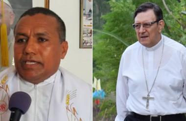 El obispo de la Diócesis de Sincelejo, monseñor José Clavijo Méndez (a la derecha), pidió disculpas por las declaraciones del sacerdote Jerónimo Córdoba (a la izquierda).