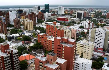 Vista panorámica de edificios en un sector en el norte de Barranquilla.