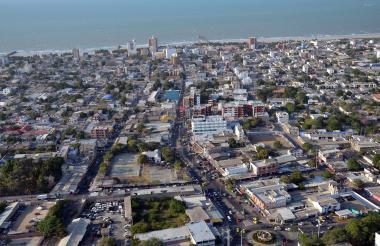Vista área del centro de Riohacha, que tiene según el Dane 2018, más de 287 mil habitantes.