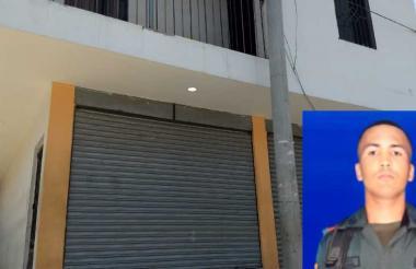 El establecimiento comercial en el que se registró el ataque sicarial. En el recuadro, Víctor Meléndez Altamar, exauxiliar asesinado.