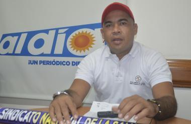 Marlon Vargas Orozco, presidente de la Subdirectiva de Sindess en Sucre y miembro de la directiva del Sindicato Nacional de la Salud y Seguridad Social.