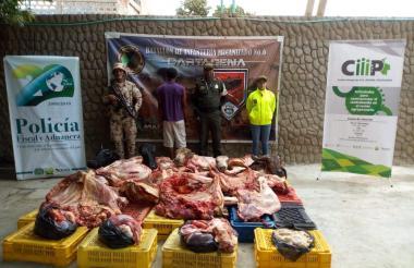 Carne decomisada por la Policía Nacional.