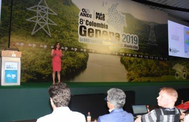 La ministra de Minas durante su intervención.