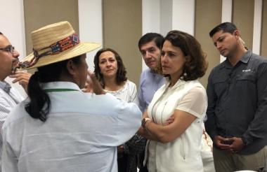 La ministra Nancy Patricia Gutiérrez en la mesa que presidió este mércoles.