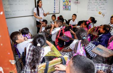 Aspecto de uno de los salones de la Institución Educativa La Esmeralda sede 2.