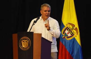 El presidente Iván Duque en su intervención en la instalación ayer de la SIP.