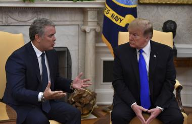 Última reunión entre los presidentes Iván Duque, de Colombia, y Donald Trump, de EEUU, el pasado 13 de febrero en la Casa Blanca.
