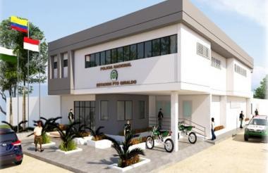 Render de lo que será la estación de Policía de Puerto Giraldo, en Ponedera.