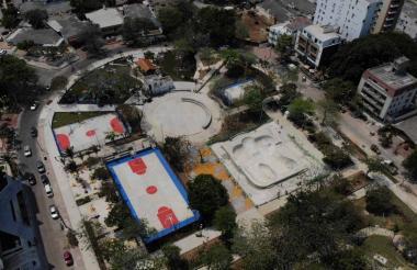 Panorámica aérea del remodelado Parque Venezuela.