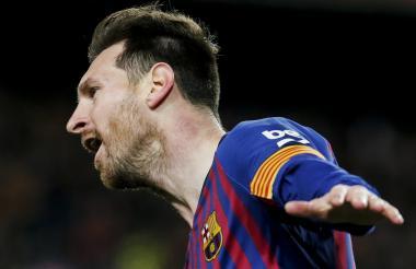 Lionel Messi celebrando el gol que significó el 2-0 en el marcador.