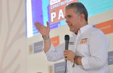 El presidente Iván Duque durante su visita a Aracataca, Magdalena.