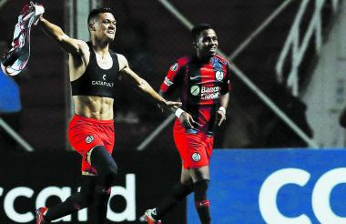 Marcelo Herrera celebra el gol ante Palmeiras.