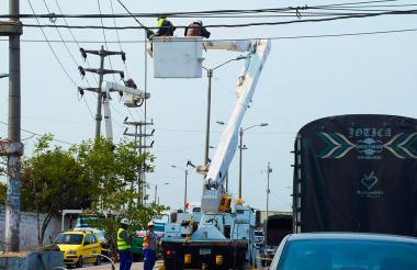 Contratistas de Electricaribe realizan labores de mantenimiento de redes en la Costa Caribe.