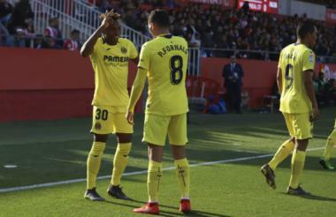 Jugadores del Villareal festejando el único gol del partido.