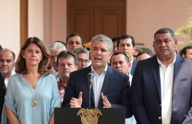 El presidente Duque cuando hablaba desde Cúcuta sobre el paquete de medidas para aliviar la crisis migratoria.